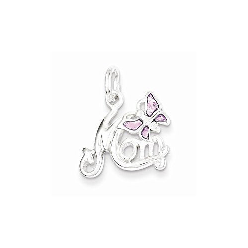 Sterling Silver Polished Mom Butterfly Enameled Charm, Best Quality Free Gift Box Satisfaction Guaranteed - shopvistar
