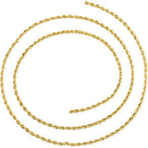 Gold -Solid Rope Chain 1mm or 1.25mm - shopvistar
