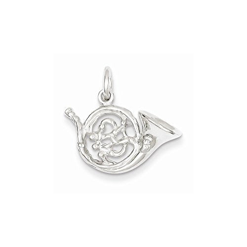 Sterling Silver French Horn Charm, Best Quality Free Gift Box Satisfaction Guaranteed - shopvistar