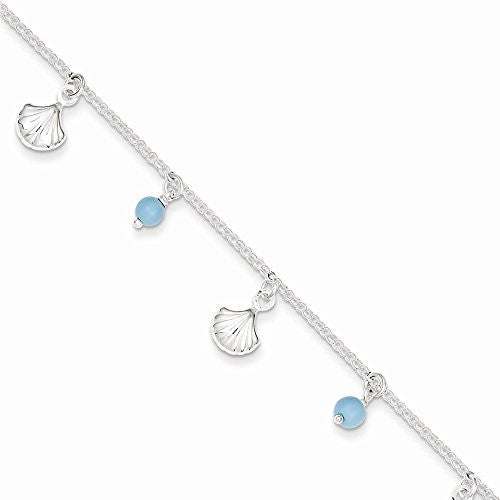 Sterling Silver Polished Shell And Turquoise W/ 1in Ext. Anklet, Best Quality Free Gift Box Satisfaction Guaranteed - shopvistar