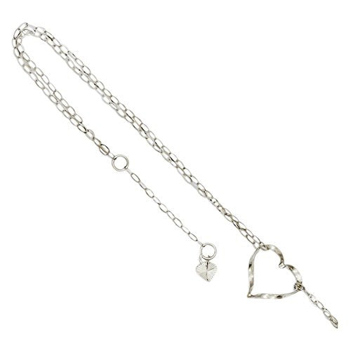 14k White Gold Double Strand Heart Anklet, Best Quality Free Gift Box Satisfaction Guaranteed - shopvistar