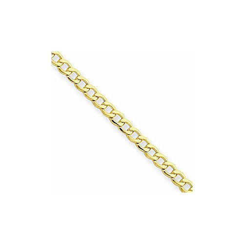 14k 2.5mm Semi-solid Curb Link Chain, Best Quality Free Gift Box Satisfaction Guaranteed - shopvistar