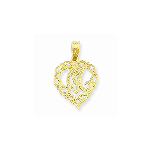 14k M Script Initial In Heart Pendant, Best Quality Free Gift Box Satisfaction Guaranteed - shopvistar