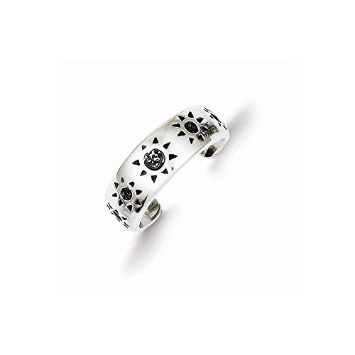 Sterling Silver Antiqued Sun Toe Ring, Best Quality Free Gift Box Satisfaction Guaranteed - shopvistar
