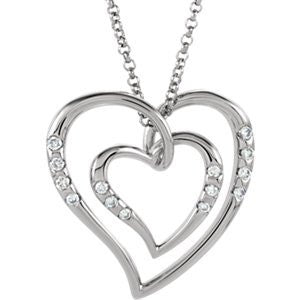 14K White Gold Diamond Heart Necklace - shopvistar