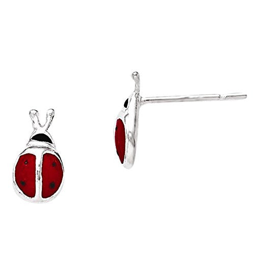 Sterling Silver Enamel Lady Bug Post Earrings, Best Quality Free Gift Box Satisfaction Guaranteed - shopvistar