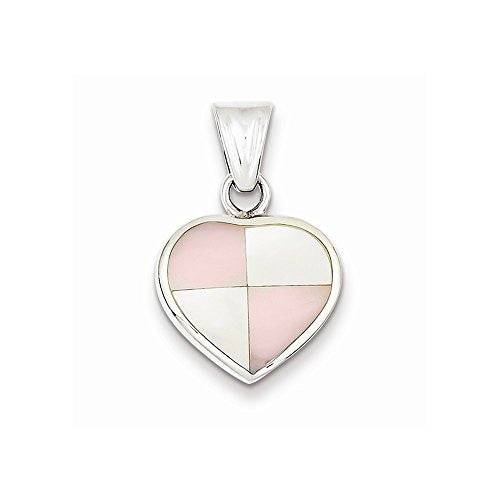 Sterling Silver White Shell Heart Pendant, Best Quality Free Gift Box Satisfaction Guaranteed - shopvistar