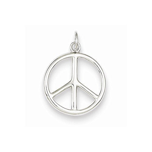 Sterling Silver Polished Peace Sign Charm, Best Quality Free Gift Box Satisfaction Guaranteed - shopvistar