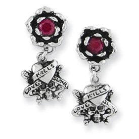 Stainless Steel Ed Hardy LKS w/Rose & CZ Dangle Earrings - shopvistar