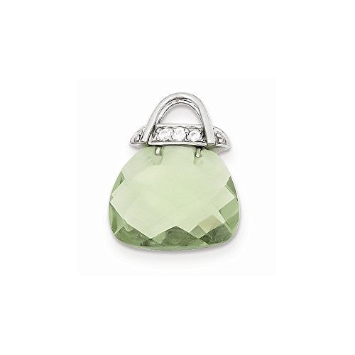 Sterling Silver Green Cz Purse Pendant, Best Quality Free Gift Box Satisfaction Guaranteed - shopvistar