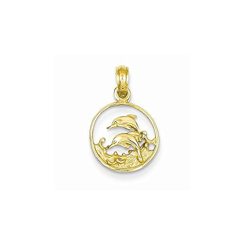 14k Double Dolphins In Circle Pendant, Best Quality Free Gift Box Satisfaction Guaranteed - shopvistar