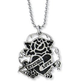 Stainless Steel Eternal Love With Rose Pendant Necklace by Ed Hardy Jewelry - shopvistar