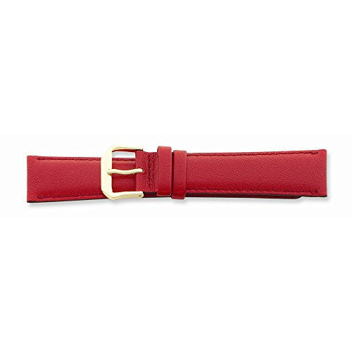 15mm Red Smooth Leather Gold-tone Buckle Watch Band, Best Quality Free Gift Box Satisfaction Guaranteed - shopvistar
