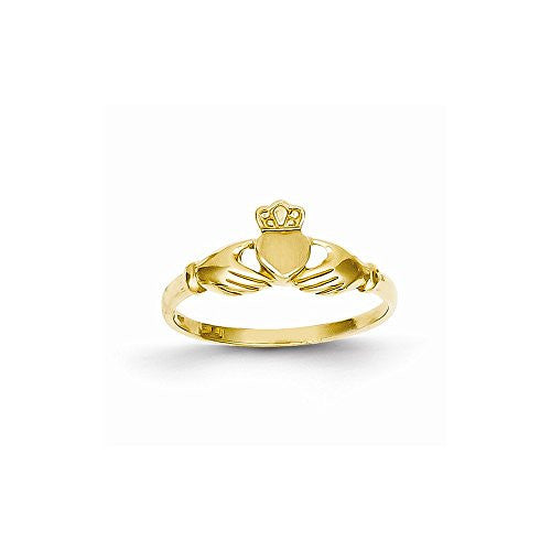 14k Polished & Satin Claddagh Ring - shopvistar