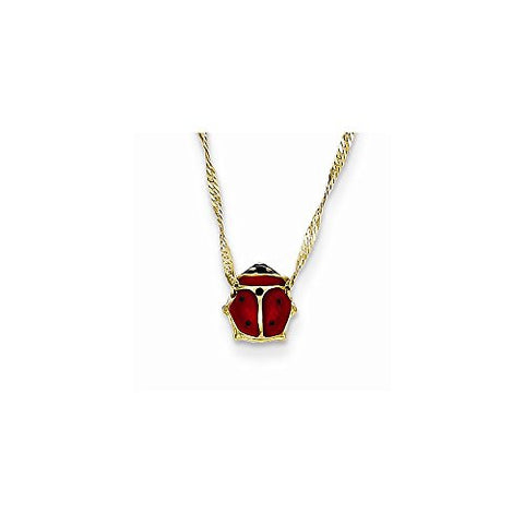 14k Enameled Ladybug Necklace, Best Quality Free Gift Box Satisfaction Guaranteed - shopvistar