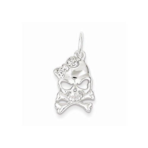 Sterling Silver CZ Skull Charm, Best Quality Free Gift Box Satisfaction Guaranteed - shopvistar