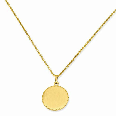 18in Gold-plated Medium Satin Round Engravable Disc Necklace - shopvistar