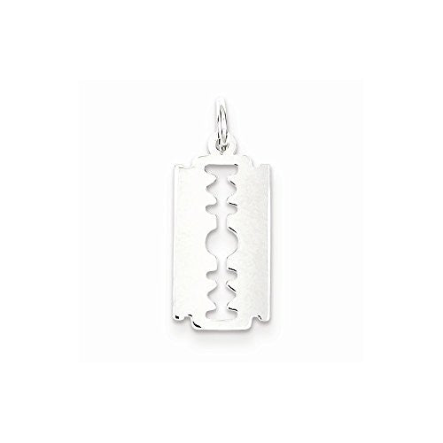 Sterling Silver Razor Blade Charm, Best Quality Free Gift Box Satisfaction Guaranteed - shopvistar