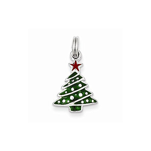 Sterling Silver Enamel Christmas Tree Charm, Best Quality Free Gift Box Satisfaction Guaranteed - shopvistar
