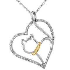 Sterling-silver Tender Voices Cat Heart Necklace - shopvistar