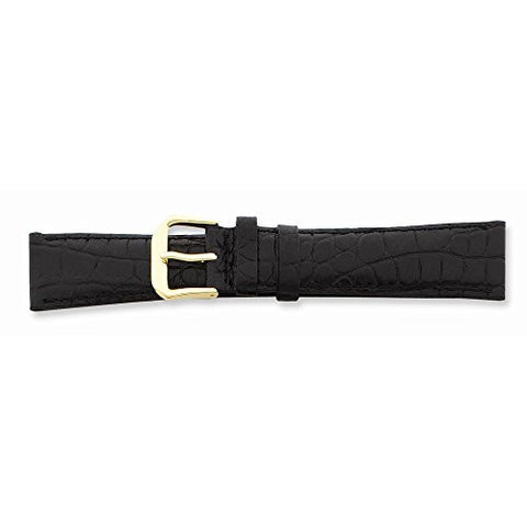 10mm Blk Croc Dark Stitch Gld-tone Buckle Watch Band, Best Quality Free Gift Box Satisfaction Guaranteed - shopvistar