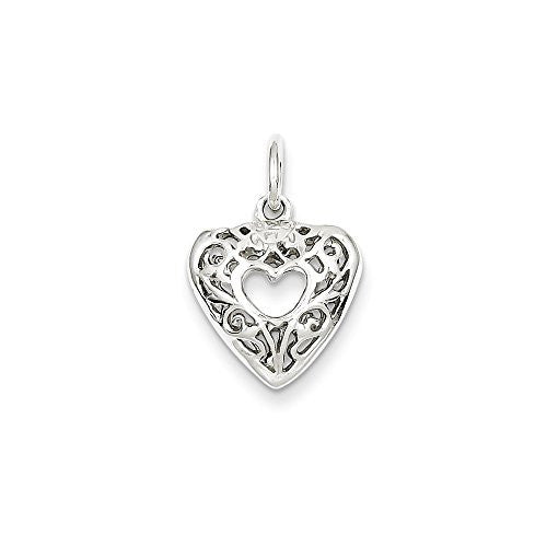 Sterling Silver Filigree Heart Charm, Best Quality Free Gift Box Satisfaction Guaranteed - shopvistar