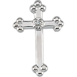 14K White Gold Cross Lapel Pin With Diamond - shopvistar