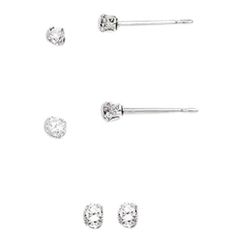 Set of Sterling Silver Studd Earrings 2mm, 3mm and 6mm Round Snap Set Cz - shopvistar