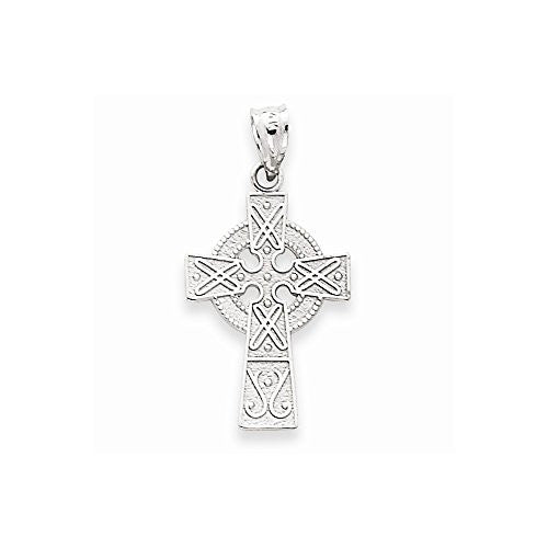 14k White Gold Celtic Cross Pendant, Best Quality Free Gift Box Satisfaction Guaranteed - shopvistar