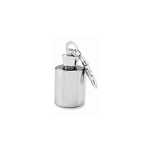 Brushed Stainless Steel 1oz Round Mini Key Chain Flask - shopvistar