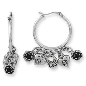 Stainless Steel Ed Hardy Rose, Lock & Heart Dangle Earrings - shopvistar