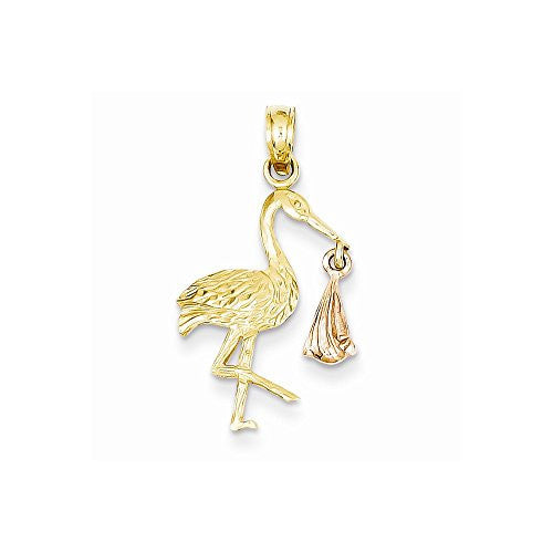 14k Two-tone Stork Pendant, Best Quality Free Gift Box Satisfaction Guaranteed - shopvistar