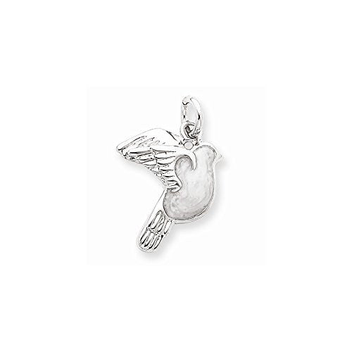 Sterling Silver Enameled White Dove Charm, Best Quality Free Gift Box Satisfaction Guaranteed - shopvistar