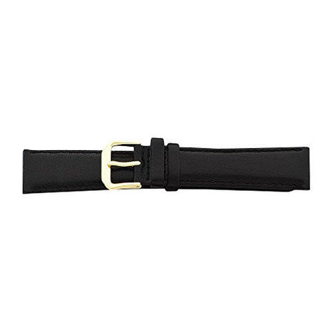 14mm Black Smooth Leather Gold-tone Buckle Watch Band, Best Quality Free Gift Box Satisfaction Guaranteed - shopvistar