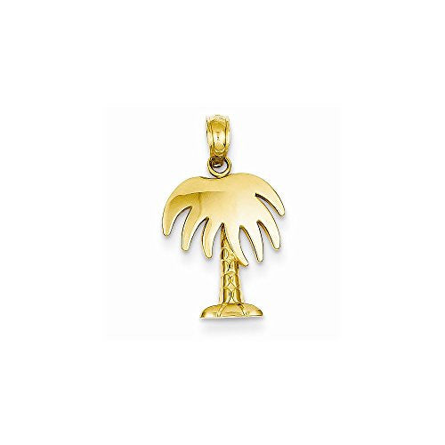 14k Polished Palm Tree Pendant, Best Quality Free Gift Box Satisfaction Guaranteed - shopvistar