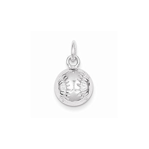 Sterling Silver Baseball Charm, Best Quality Free Gift Box Satisfaction Guaranteed - shopvistar