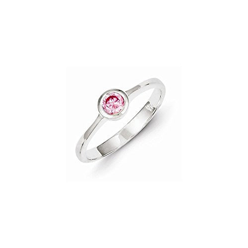 Sterling Silver Pink Round Bezel Cz Ring, Best Quality Free Gift Box Satisfaction Guaranteed - shopvistar
