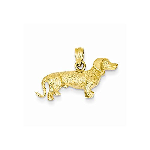 14k Solid Polished 3-Dimensional Wire Haired Dachshund Charm - shopvistar