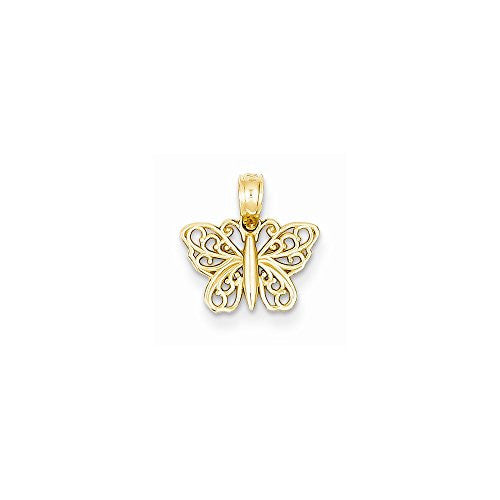 14k Filigree Butterfly Charm, Best Quality Free Gift Box Satisfaction Guaranteed - shopvistar