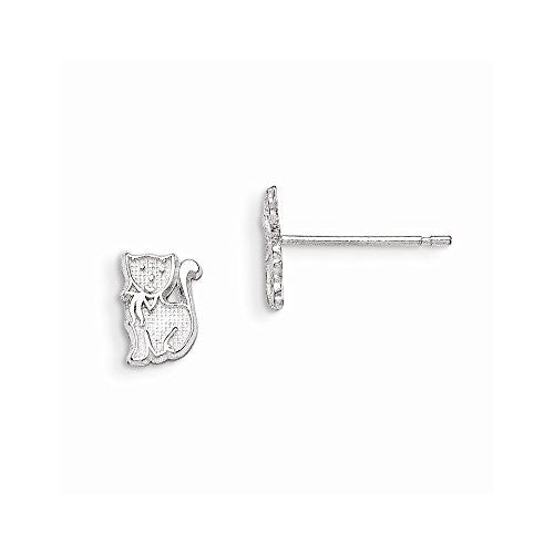 Sterling Silver Cat Mini Earrings - shopvistar