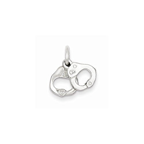 Sterling Silver Handcuffs Charm, Best Quality Free Gift Box Satisfaction Guaranteed - shopvistar