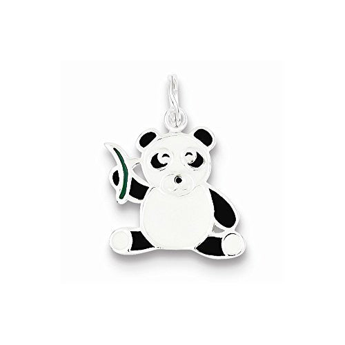 Sterling Silver Enameled Panda Bear Charm, Best Quality Free Gift Box Satisfaction Guaranteed - shopvistar