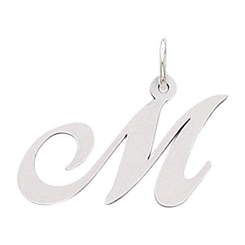Sterling Silver Medium Fancy Script Initial M Charm, Best Quality Free Gift Box Satisfaction Guaranteed - shopvistar