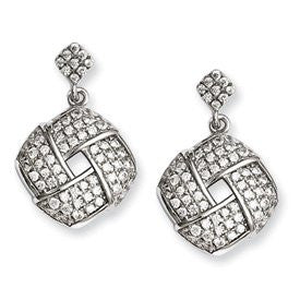 Sterling Silver & CZ Brilliant Embers Dangle Post Earrings - shopvistar