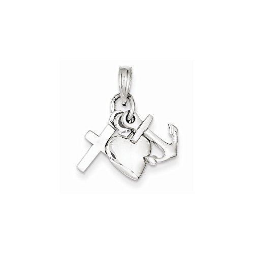 14k White Gold Faith, Hope & Charity Charm, Best Quality Free Gift Box Satisfaction Guaranteed - shopvistar