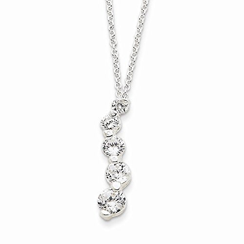 Sterling Silver Cz Journey Necklace, Best Quality Free Gift Box Satisfaction Guaranteed - shopvistar