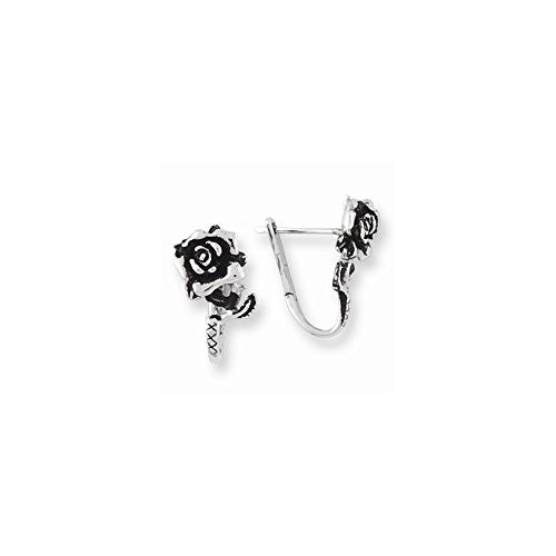 Stainless Steel Ed Hardy Rose Hoop Earrings - shopvistar
