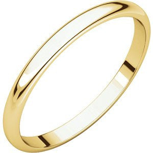 10K Yellow Gold Light Half Round Band, Size: 10 - shopvistar