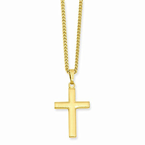 18in Gold-plated Medium Cross Necklace, Best Quality Free Gift Box Satisfaction Guaranteed - shopvistar
