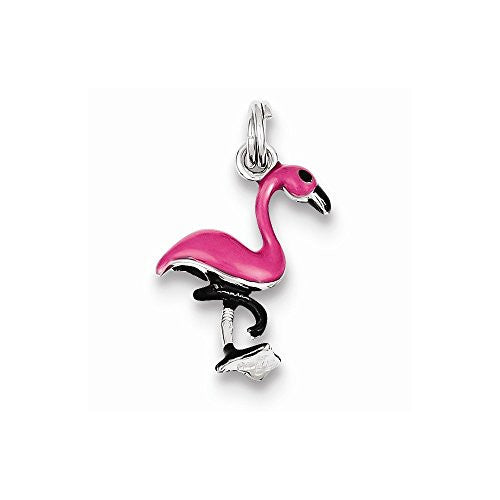 Sterling Silver Enamel Flamingo Charm, Best Quality Free Gift Box Satisfaction Guaranteed - shopvistar
